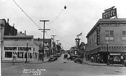 Looking up Forest Avenue, Pacific Grove, 1930
